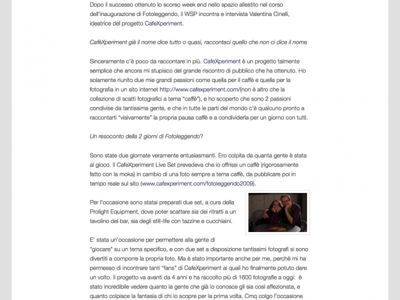 Il WSP intervista Valentina Cinelli e il suo CafeXperiment